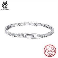 ORSA bijoux 925 argent Tennis Bracelet 3mm zircone boucle de sécurité en argent Sterling femmes Bracelets Bracelet bijoux chaîne SB92
