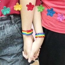 Pulseira trançada de arco-íris lgbtq, joias para homens e mulheres, trançada com orgulho