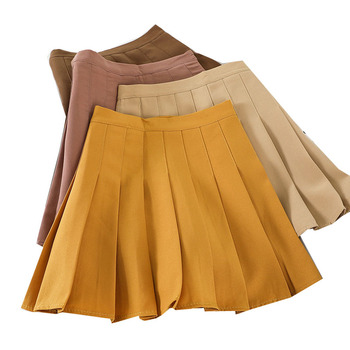 Sweet Pleated Skirt Women Solid High Waist Mini Skirts Casual Summer Ladies Girls Skirts Slim Waist A-line Chic Women's Skirt dabuwawa single breasted solid pocket patched skirts women high waist office ladies casual slim fit a line skirt d18bsk005
