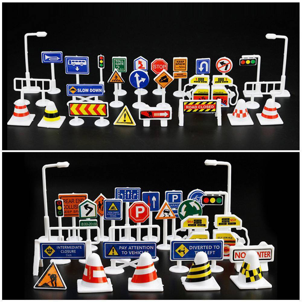 28pcs Set English Road Sign Traffic Sign Signage DIY Model Scene Car Toy Accessories Kids Children Play Learn Toys