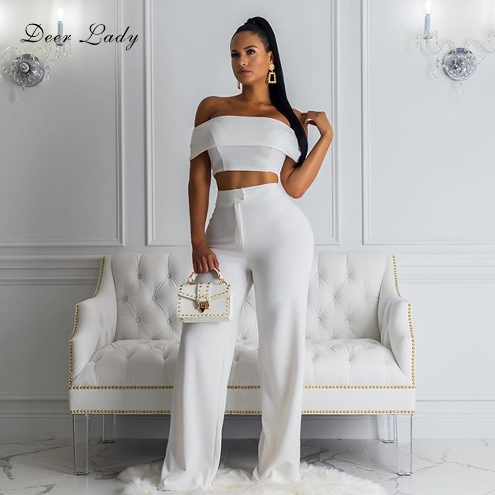 DeerLady 2 Piece Bodycon Set Women 2019 New Arrivals White Elegant Off Shoulder Top And High Waist Pants Wide Leg For Club Party