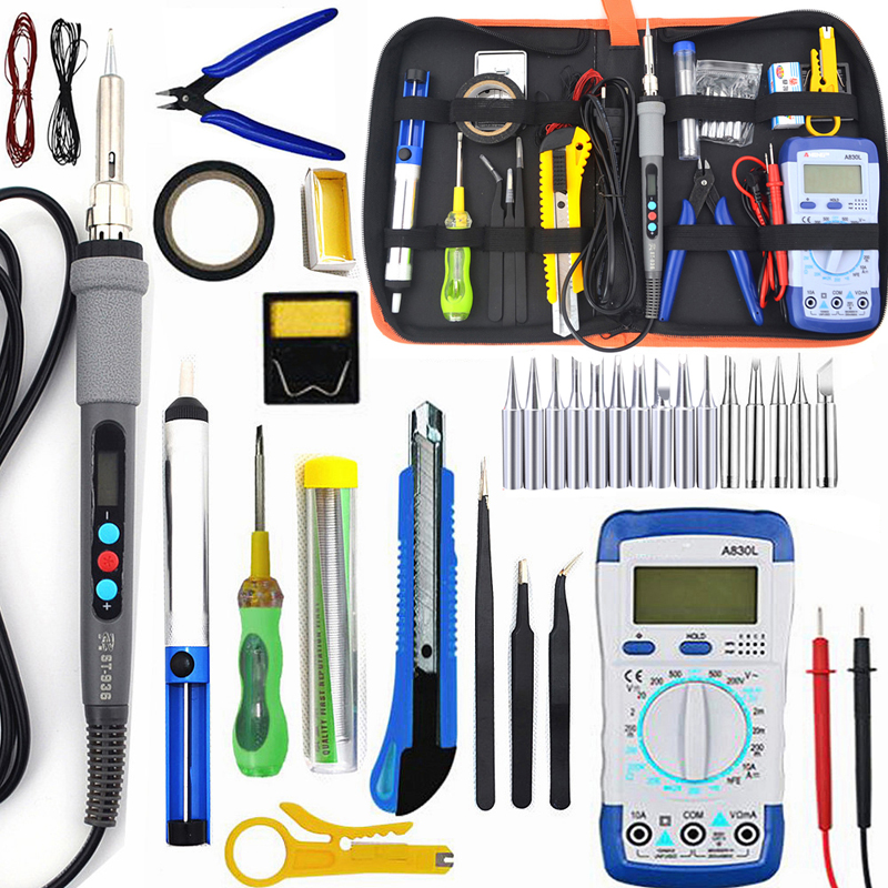 ST-936d Temperature Electric Soldering Iron Kit 110V-220V 60W Soldering Iron Kit With Multimeter Desoldeirng Pump Welding Tool