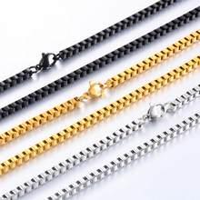 Colar de aço inoxidável 316l, colar com corrente 2/3/4mm de aço/ouro/preto corrente de joias de alta qualidade, para mulheres e homens