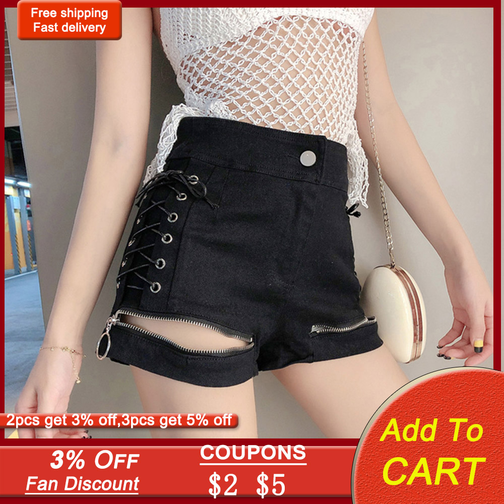 Rosetic Bandage Zipper Punk Sexy Shorts Women Summer Denim Shorts 2020 Streetwear Gothic Black Jeans Korean Chic Lace Up Casual