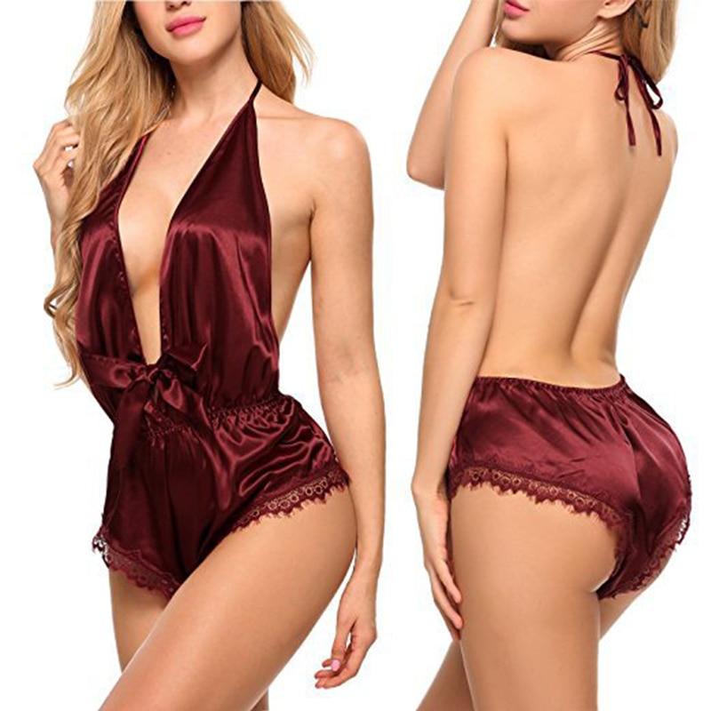 Roupa de noite quente chiffon feminina sleepwear sexy mulher renda sem costas lingerie erótica sexy lingerie camisola plus size
