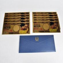 10pcs/lot  Dragon Ball Z Son Goku Gold Foil Banknote Japan 10000 Yen Plastic Card For collection