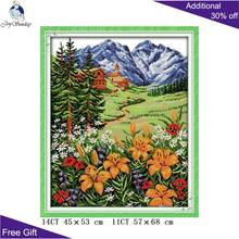 Your Gift Spring Mountain Home Decor F300 14CT 11CT Counted and Stamped Snow Mountain In Spring Embroidery DIY Cross Stitch kits(China)