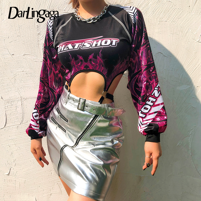 Darlingaga Fashion Cut Out Rave Festival Sexy Bodysuit Women Flame Checkerboard Letter Printed Body Autumn Bodysuits Long Sleeve