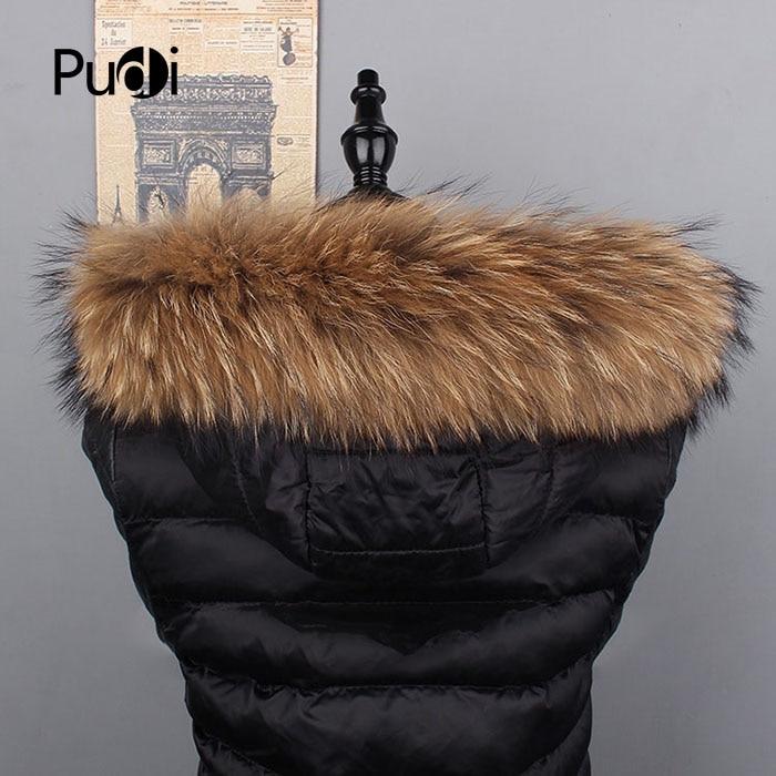 Pudi SF870 women real raccoon fur scarf collar 2020 new long natural genuine fur scarves black brown color
