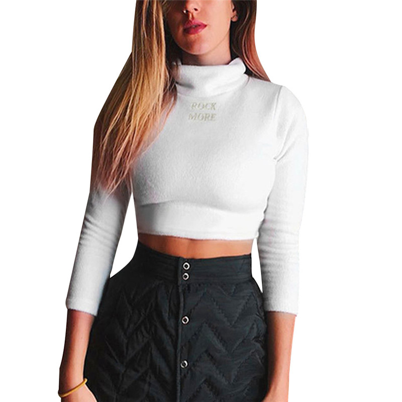 Sexy Casual Womens Turtleneck Sweater White Crop Tops Pullover Sweater Women Tops Bottom Slim Sweaters 3FS