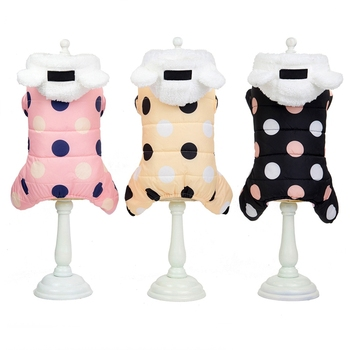 Pet Dog Clothes Winter Dog Hoodie Jumpsuit Small Dog Dot Printed Jacket Clothes Cute Fleece Ear Design Cotton-padded Coat 2