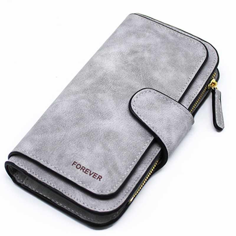 Cartera de mujer con cremallera monedero largo Cartera de tarjeta de mujer Triple descuento Cartera de moda (gris)