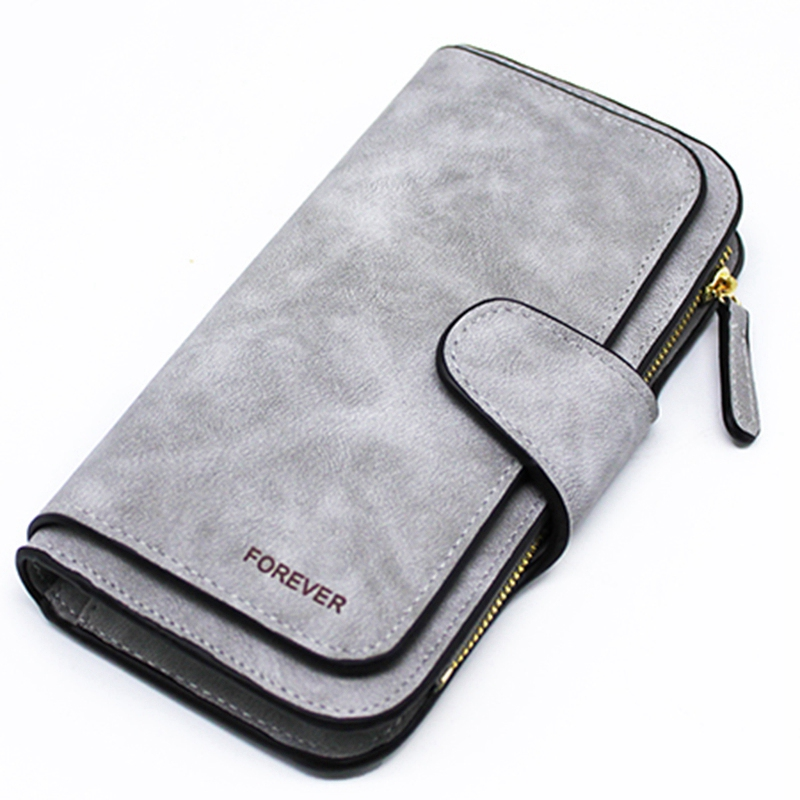 Ladies Wallet Zipper Long Purse Ladies' Card Wallet Triple Discount Fashion Wallet(Gray)