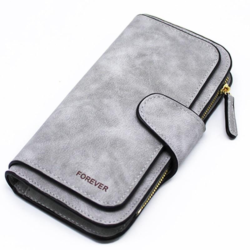 Ladies Wallet Zipper Long Purse Ladies' Card Wallet Triple Discount Fashion Wallet(Gray)