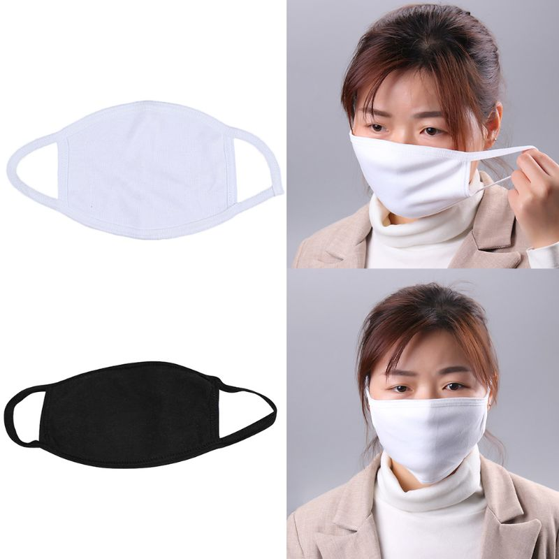 10Pcs 3 Layers Black White Cotton Mouth Mask Washable Reusable Elastic Anti Dust Pollution Casual Earloops Mouth-Muffle