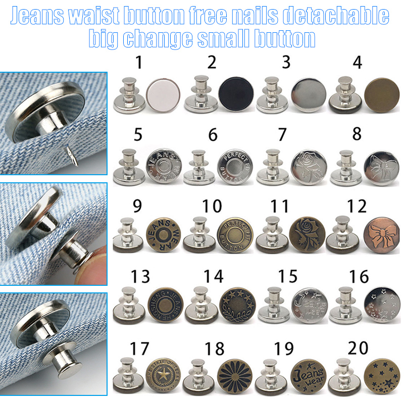 Newly 10pcs Retractable Jeans Button Adjustable Removable Stapleless Metal Button Zinc Alloy Round  DO99