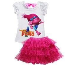 2020 crianças trolls 2 t camisa + conjuntos de vestido bebê crianças malha vestido de princesa roupas festa aniversário presente da criança meninas conjuntos