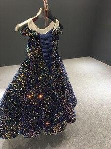 Image 2 - J66991 Jancember Mädchen Blume Kleid Kurzen Ärmeln Weg Von Der Schulter Garn Pailletten Indigo Blau Nacht Kleider vestido comunión niña