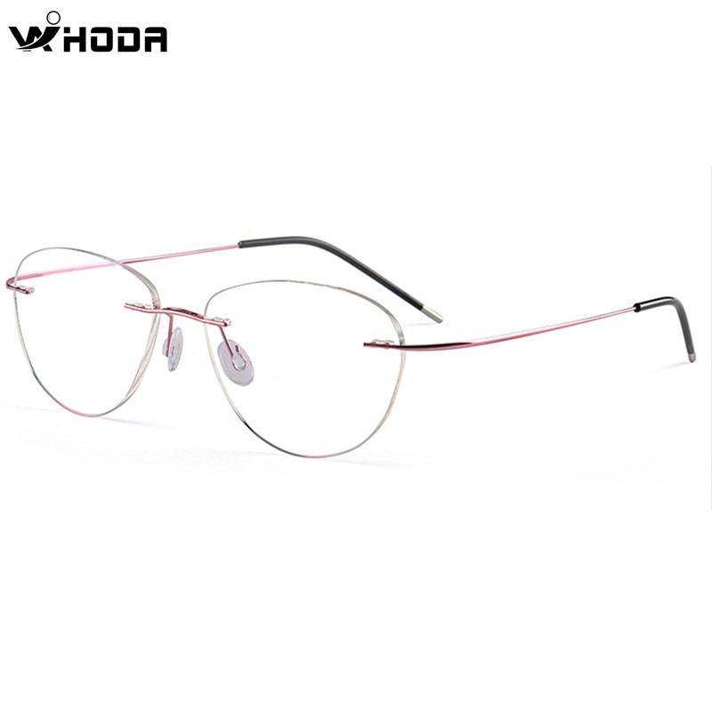 Ultralight Titanium Alloy Rimless Screwless Glasses Frame ,Women Cat Eye Eyeglasses Frameless Eyewear Myopia Optical Frames 965