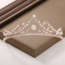 New Delicate Luxury Gold Color Handmade Pendant Crystal Tiaras and Crowns Headbands Royal Princess Diadem Wedding Jewelry(China)