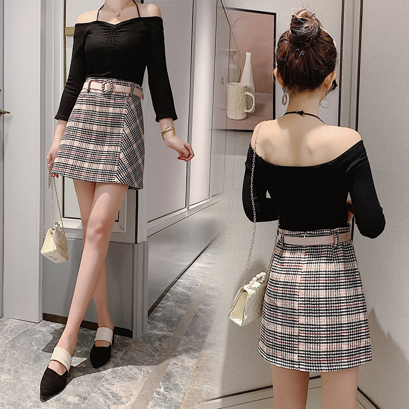 Belt Included 2019 Autumn & Winter New Style Skirt Women's Korean-style Versatile Woolen Plaid A- Line Skirt Large Size Short Sk