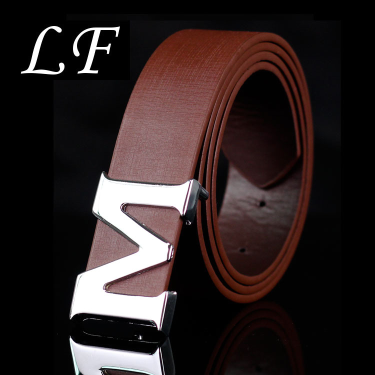 Men's Belt Letter M Smooth Buckle Casual Pants Belt Korean Version Of The Trend Youth Youth Belt