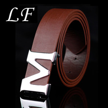 Mens Belt Letter M Smooth Buckle Casual Pants Korean Version Of The Trend Youth