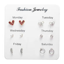 2019 Heart Week Earring Set Lovely Star Knot Heart Stud Earrings For Women 6 Pairs/set Brincos Daily Party Jewelry Gift(China)
