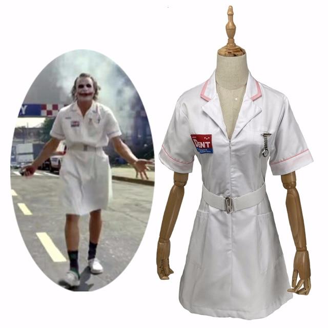 فيلم باتمان فارس الظلام مهرج ممرضة تأثيري حلي الأبيض ممرضة موحدة فستان الرجال النساء هالوين فستان بتصميم حالم