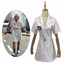 Movie BatMan Dark Knight Joker Nurse Cosplay Costume White Nurse Uniform Dress Men Women Halloween Fancy Dress