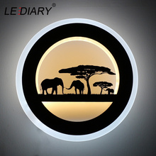 LEDIARY 14W Animal LED Round Wall Sconce 110-240V Modern Black Elephant Painting Lights For Living Room Decoration Fixtures