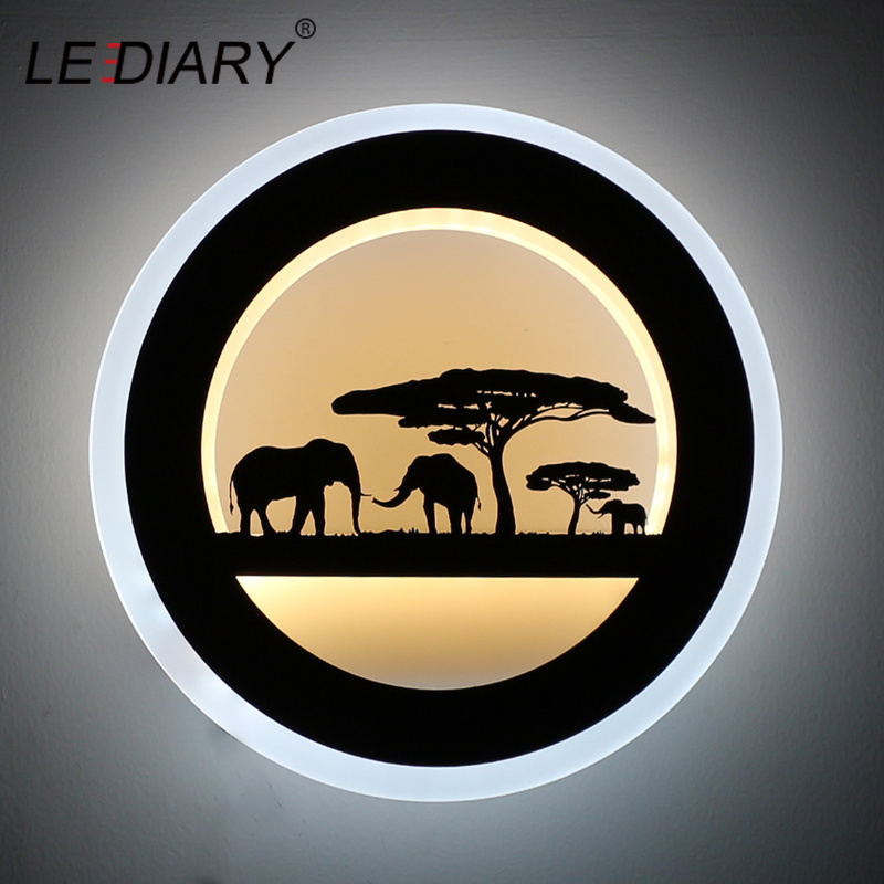 LEDIARY 14W Animal LED Round Wall Sconce 110-240V Modern Black Elephant Painting Wall Lights For Living Room Decoration Fixtures