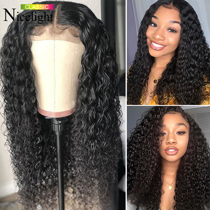 Nicelight Hair Deep Wave Closure Wig 100% Human Hair Wigs 4X4 Closure Wig Peruvian Remy Lace Closure Wigs 150% Density Lace Wigs
