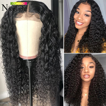 Nicelight Hair Deep Wave Wig 100% Human Hair Wigs 4X4 Closure Wig Peruvian Remy Hair Lace Closure Wigs 180 Density Lace Wigs