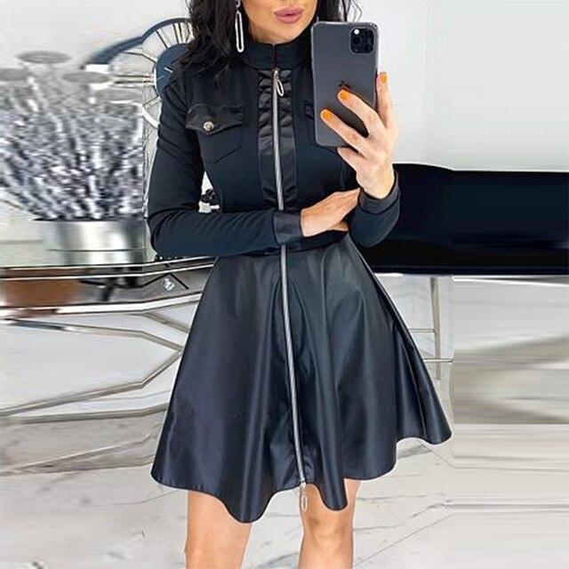 unique satin print dress w/breastpocket trim 6