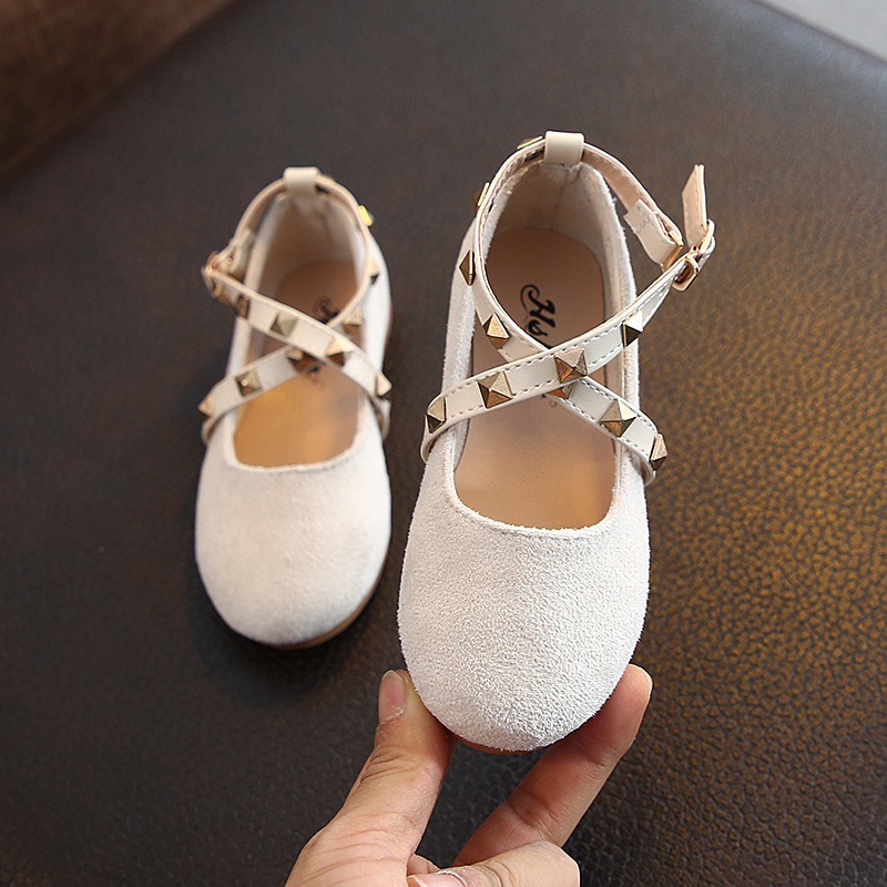 Kids Shoes For Girl Princess Single Sneakers Spring Fashion Rivet Solid Color Flat Single Shoes Children Baby Girl Shoes SHS003