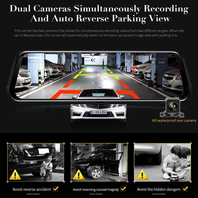 Cámara de visión trasera HGDO de 10 pulgadas con espejo cámara de salpicadero era FHD 1080P DVR de visión nocturna para coche cámara de salpicadero cámara de conducción automática Dashcam