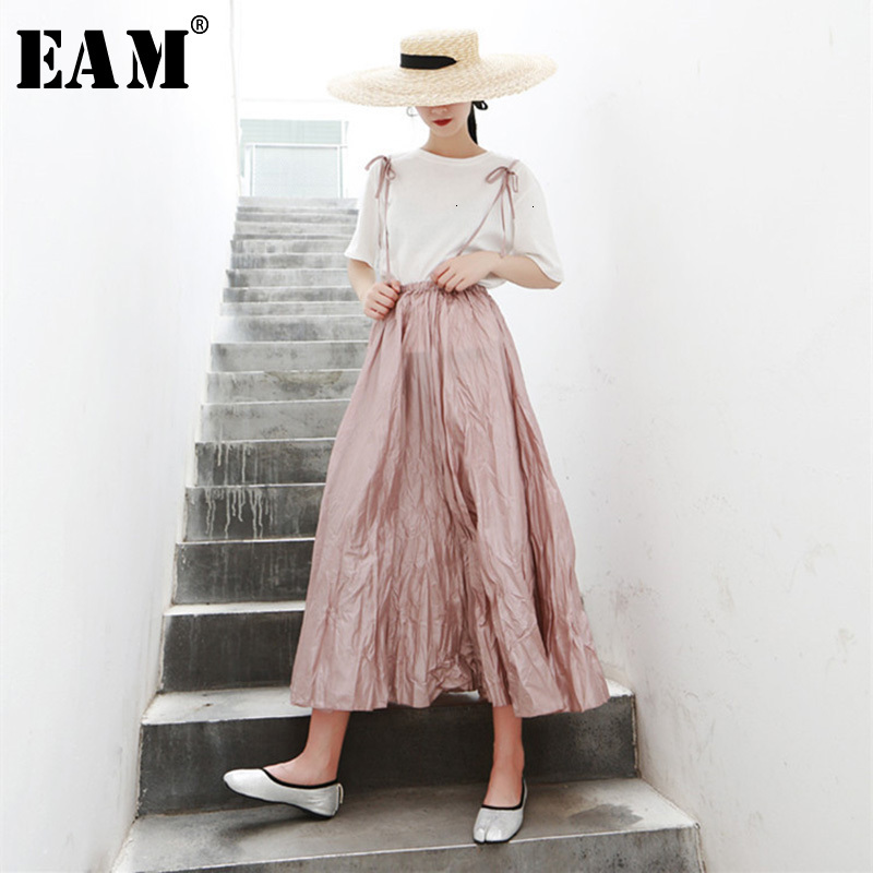 [EAM]  Pleated Half-body Skirt Two Pieces Suit New Round Neck Short Sleeve Black Loose Women Fashion Spring Autumn 2020 1H116