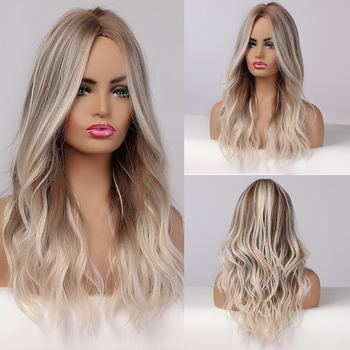 Long Wavy Ombre Light Blonde Synthetic Wigs With Highlights Natural Wigs Middle Part for Afro Women Cosplay Heat Resistant Wigs wignee hand made front ombre color long blonde synthetic wigs for black white women heat resistant middle part cosplay hair wig