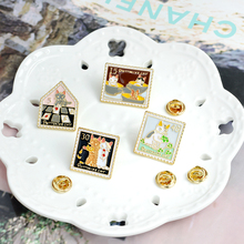 Cat Stamp Vintage Cartoon pins brooches Cute Animal Pin Denim Jackets cap Buckle Shirt Badge Gift for Friend