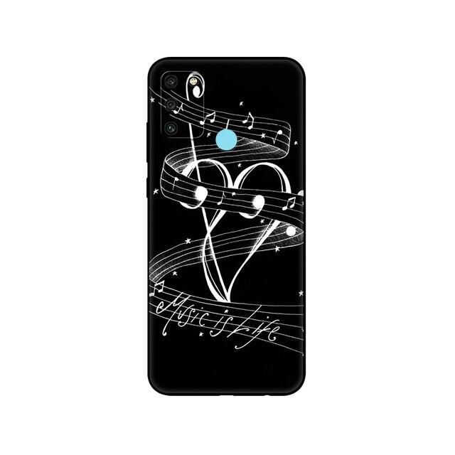 Coque en tpu noir pour Huawei Honor 8a 8s Prime 9 Lite honour 9A 9C 9X Premium 9x Pro 9S coque Notes de musique violon musique classique