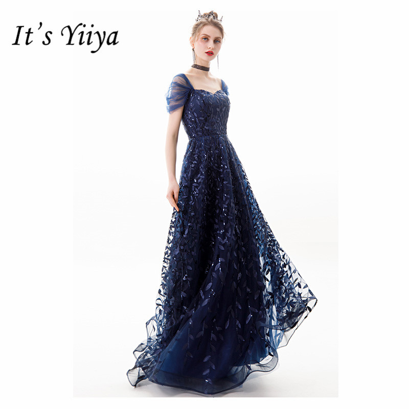It's Yiiya Evening Dress Vintage Boat Neck Mermaid  Robe De Mariee Off The Shoulder Floor-Length Women Party Dresses E820