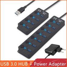 USB Hub yüksek hızlı 4/7 bağlantı noktalı USB 3.0 Hub Splitter On/Off anahtarı ile ab/abd güç macbook adaptörü dizüstü bilgisayar