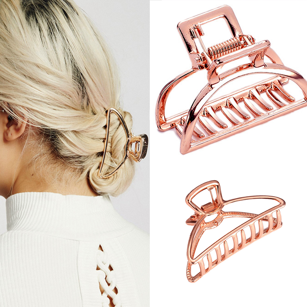 2019 Women Girls Geometric Metal Hair Claw Clamps Hair Crab  Hair Clip Claws Solid Color Accessories Hairpin Large/Mini Size