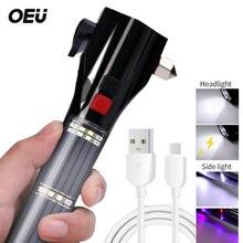 Linterna de imán de martillo para coche, reflector Solar LED automático, alarma recargable por USB, linterna de seguridad brillante, rescate magnético