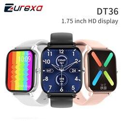 Смарт-часы Zurexa DT36 для мужчин и женщин, сенсорный экран, шагомер, измерение кровяного давления, ЭКГ, для Iso и Android