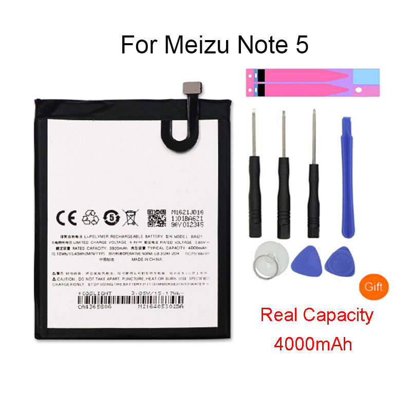 4000mAh <font><b>BA621</b></font> For <font><b>Meizu</b></font> Note 5 Smartphone Battery Batterie For <font><b>Meizu</b></font> Meilan Note 5 M5 Note Bateria Batterij Accumulator Tools image
