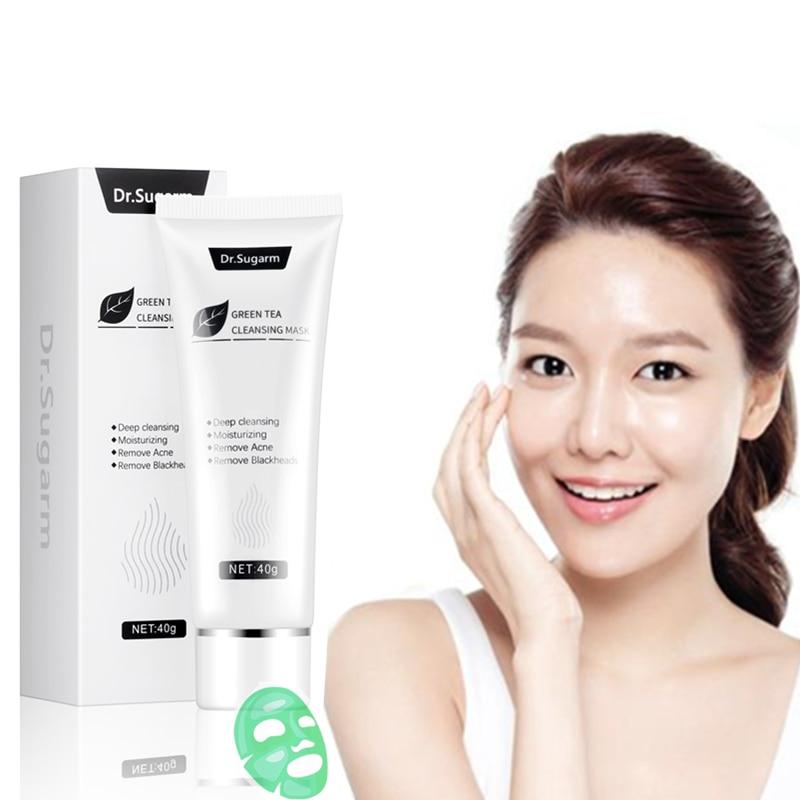 40g Dr.Sugarm Green Tea Blackhead Mask Face Skin Care Remove Acne Nose Deep Cleansing Pore Strip Moisturizing Peel Black Mask 3