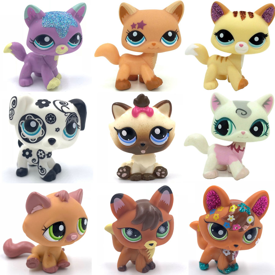 Old Pet Shop Toys Standing Short Hair Cat Original Kitten Fox Puppy Dog Cute Animal For Girls Collection
