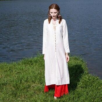 Indian Dress Indio Kurta Women Silk Cotton Yoga Meditation Clothes Long Sleeves Beige Pakistani Dress Kurti